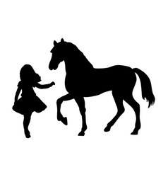 Silhouette girl wants touch horse vector