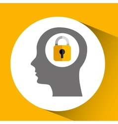 Silhouette head with padlock security icon vector