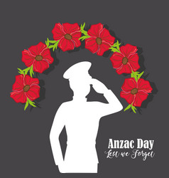 soldier with flowers to anzac day memory vector image