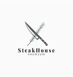 steak logo with knife and rosemary on white vector image