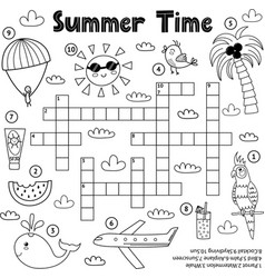 Summer time black and white crossword game vector