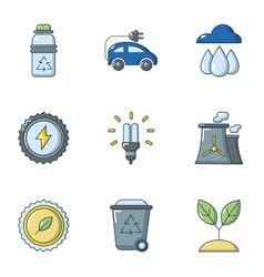 Sun potency icons set cartoon style vector
