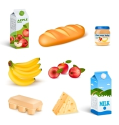 Supermarket Food Isolated Products Set vector