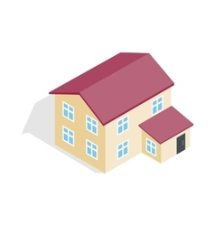 Two storey house icon isometric 3d style vector image