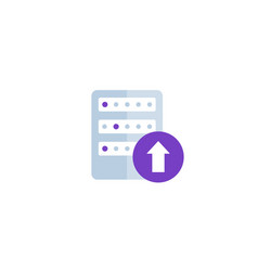 Upload to a server flat icon vector