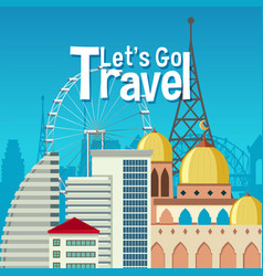 urban landmark travel theme vector image