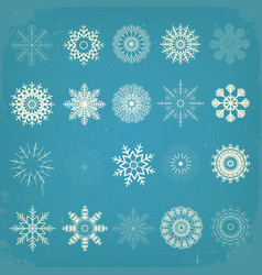 vintage christmas snowflakes set vector image