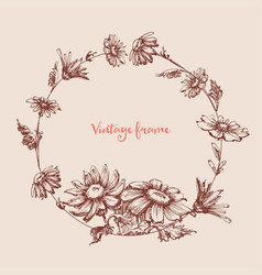 Vintage floral round frame hand drawn circular vector