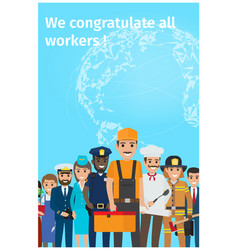 We congratulate all workers greeting postcard vector