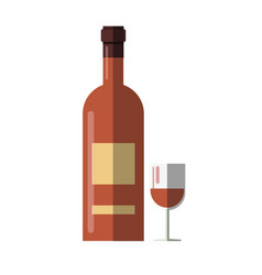 wine bottle and alcohol drink glass cup vector image
