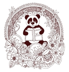 Zen Tangle panda with a book vector