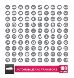 100 icons set of auto transport and logistic vector image