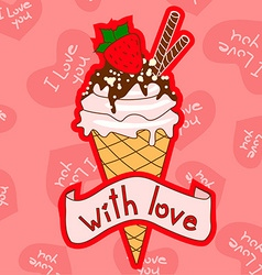 Background with ice cream cone vector image vector image