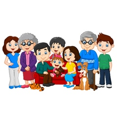 Big family with grandparents isolated vector image vector image