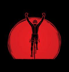 the winner bicycle riding sport man champion biki vector image