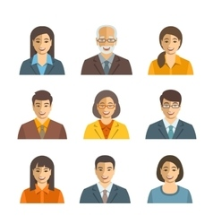Asian business people simple flat avatars vector image vector image