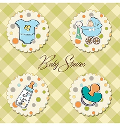 cartoon baby boy items collection vector image