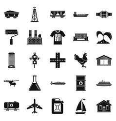 production icons set simple style vector image