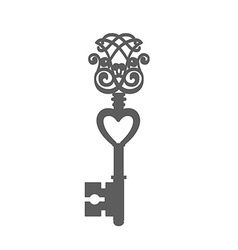 Vintage Key Silhouette isolated on white vector image vector image