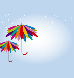 colorful umbrella in rainy day with copy sp vector image