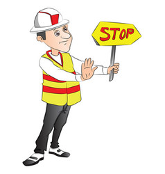construction worker showing stop sign at site vector image vector image