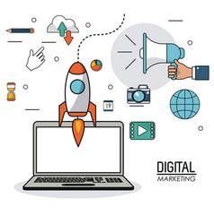 digital marketing laptop innovation internet vector image
