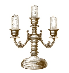 engraving candlestick vector image