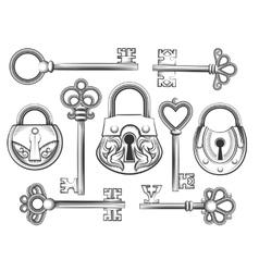Hand drawn vintage key and lock set vector image