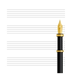 Musical Staff and Pen vector image vector image