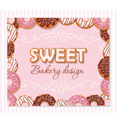 sweet bakery design template cartoon hand drawn vector image vector image