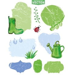 Watercolor Spring grouplabelsGreen vector image