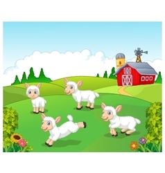 Cute cartoon sheep collection set with farm vector image