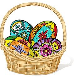 easter egg in basket - vector image vector image
