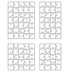 four white puzzles 4 vector image