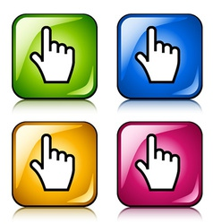 smooth cursor hand buttons vector image vector image