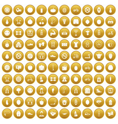 100 fitness icons set gold vector