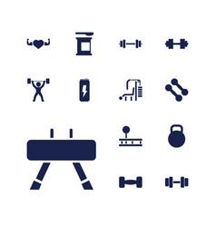 13 bodybuilding icons vector