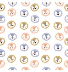 Adorable animal head seamless pattern vector
