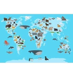 Animals world map vector image
