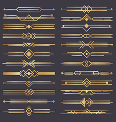 Art deco divider gold retro arts border 1920s vector