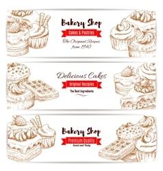 Bakery shop dessert cakes sketch banners set vector image
