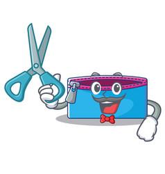 barber pencil case character cartoon vector image