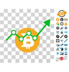 bitcoin growth trend icon with bonus vector image
