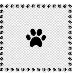black animal s paw print icon framed with paws vector image