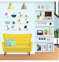 Blue living room vector