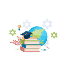 books and graduation hat flat style vector image