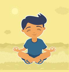 Boy sitting meditating vector