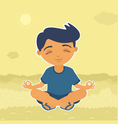 boy sitting meditating vector image