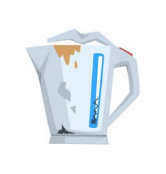 broken kettle damaged home appliance cartoon vector image
