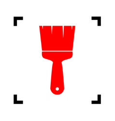brush sign red icon inside vector image